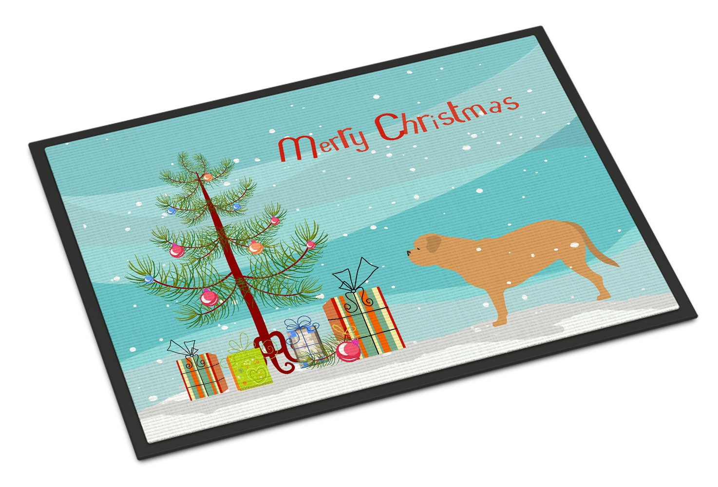 Carolines Treasures BB2988JMAT Dogue De Bordeaux Merry Christmas Tree Indoor or Outdoor Mat Multicolor 24 x 36