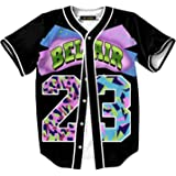 HOP FASHION Womens 90s Bel-Air Party Baseball Jersey Short Sleeve 3D Colorful 23 Print Button Dance Team Uniform Tops Shirts