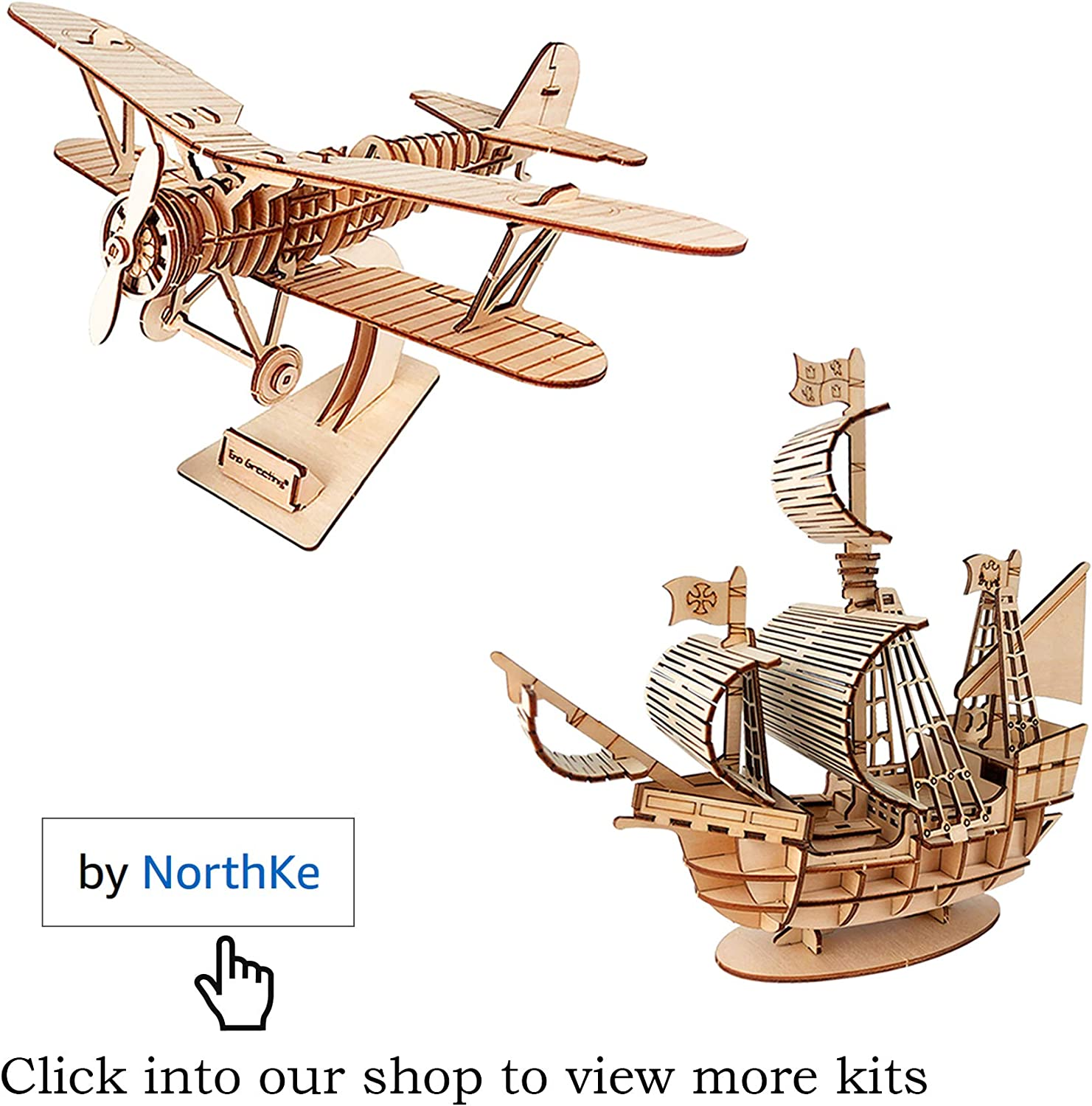 DIY Model Craft Toys Gifts for Kids Boys Girls Adults and Teens NorthKe 3D Wooden Puzzle Kits Biplane and Model Car