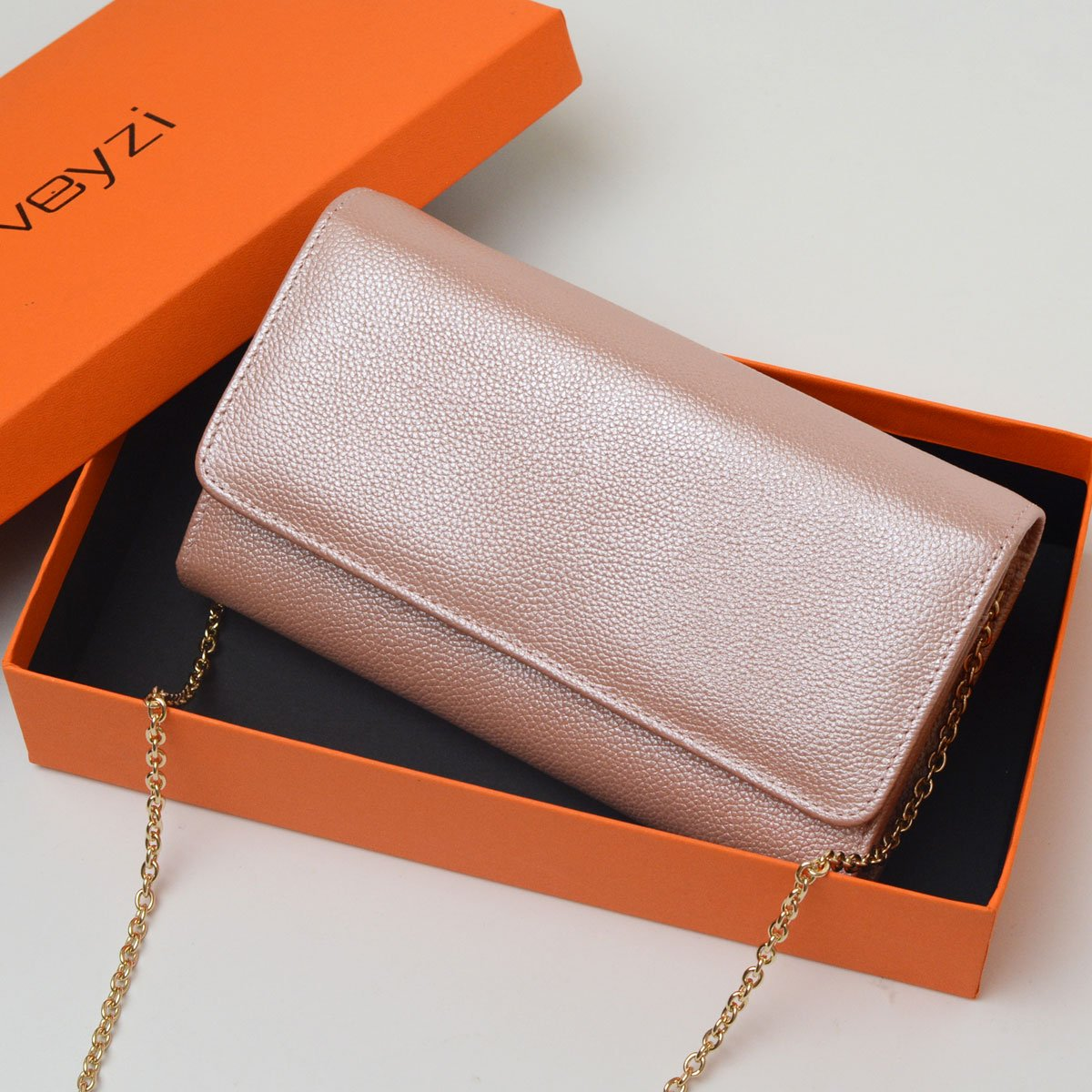 Women RFID Leather Trifold Wallet Cossbody Purse Clutch with Chain Strap (Rose Gold) by Bveyzi (Image #8)