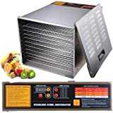 1200W 10 Tray Stainless Steel Digital Food Jerky Fruit Dehydrator with 10 Stainless Steel Shelves Digital Timer
