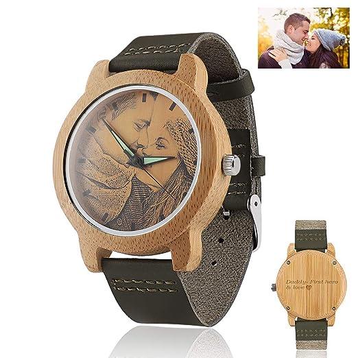Relojes de pulsera de fotos de madera personalizados con grabado para hombres mujeres: Amazon.es: Relojes