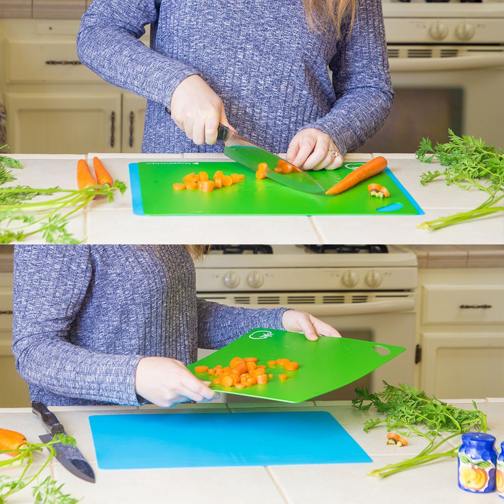 MoyaKitchen Flexible Colored Plastic Cutting Boards FDA Approved Dishwasher Safe Set of 5 Plastic Cutting Board Sheets 1.5mm Thick BPA-Free For Kitchen and Silicone Mat