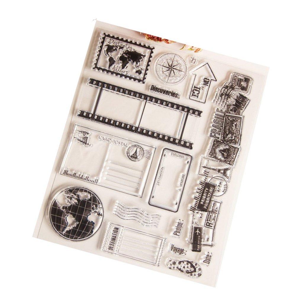 Qiman Globe Effacer Silicone Sceau Timbre Pour Album de BRICOLAGE Scrapbooking Photo Carte D/écor Nouveau