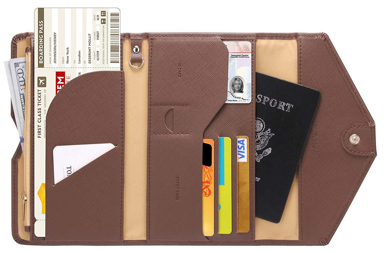 Lazoppent Passport Holder Travel Wallet Tri-fold Document Organizer Passport Cover Case