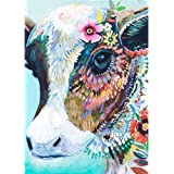 DIY 5D Diamond Painting by Number Kits, Crystal Rhinestone Diamond Embroidery Paintings Pictures Arts Craft for Home Wall Decor, Full Drill, Colorful Cow