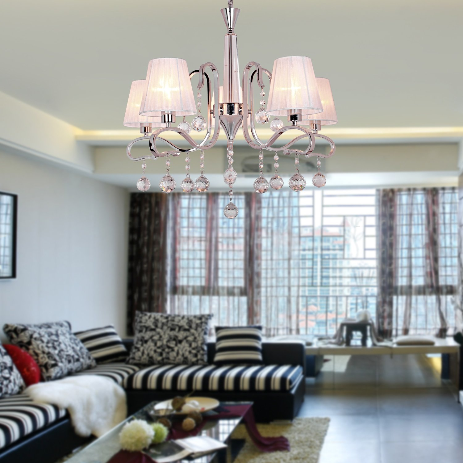 Modern Crystal Chandeliers With 5 Lights White, Ceiling Light Fixture  Chandeliers For Living Room, Study Room/Office     Amazon.com