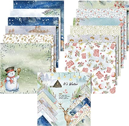 YARUMI Winter-Themed Scrapbook Paper Pad,6 /× 6 Inches Single-Sided Printing Crafting Project Paper Pad Lignin /& Acid-Free Patterned Cardstock Thick Backdrop Holiday Photos Decorative Paper-24 Sheets