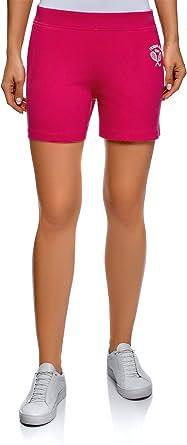 oodji Ultra Mujer Pantalones Cortos de Algodón con Bordado, Rosa, ES 34 / XXS: Amazon.es: Ropa y accesorios