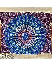 Indyjski hipisowski bohema psychodeliczna paw mandala wisząca pościel gobelin (niebieski zielony, królowa (84 x 90 cali) (215 x 230 cm)