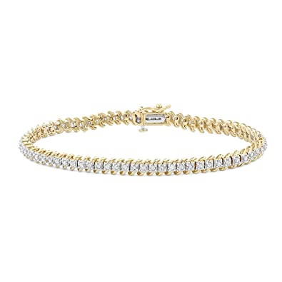 73a14f3612e Amazon.com  1 CTTW White Diamonds Tennis Bracelet in 10KT Gold (I-J ...