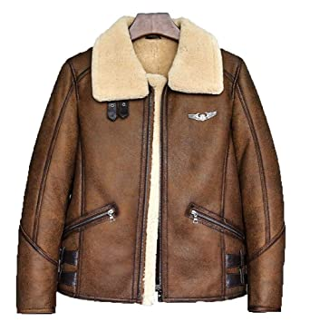 Denny Dora Mens B-3 B6 Sheepskin Shearling Bomber Jacket at Amazon Men s  Clothing store  035b4436a