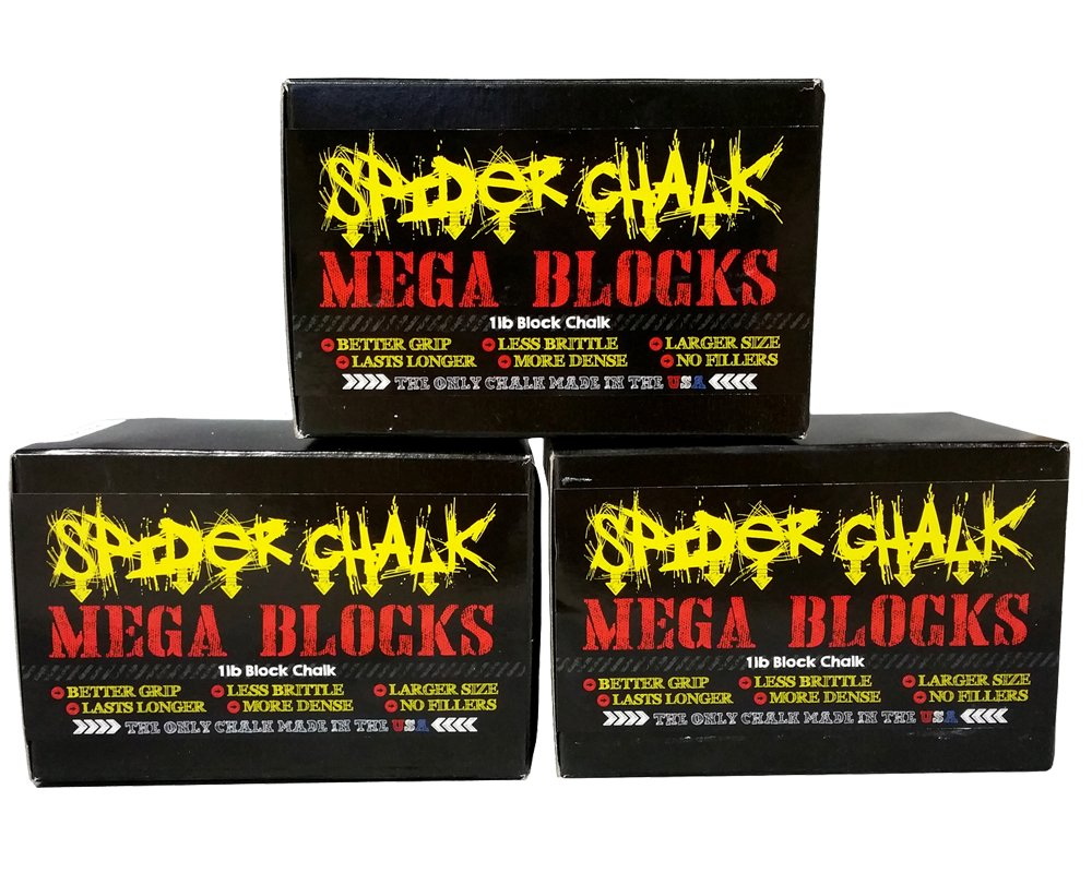 Spider Chalk Weightlifting Block Chalk, Best Gym Workout Chalk for Lifting Weights, Gymnastics, Crossfit, Rock Climbing, Mega Blocks, 99% Pure Block Athletic Chalk, USA Made