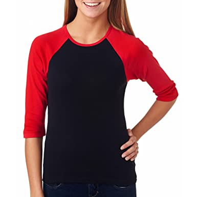 0d91e6d2217 Amazon.com  Ladies  Two-Tone 3 4-Sleeve Raglan Tee Shirt