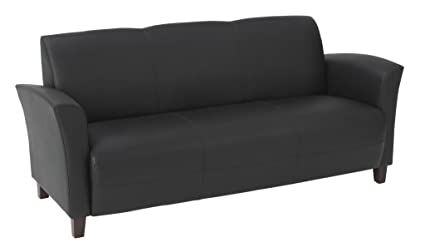 Attrayant Office Star Breeze Bonded Leather Sofa With Cherry Finish Legs, Black