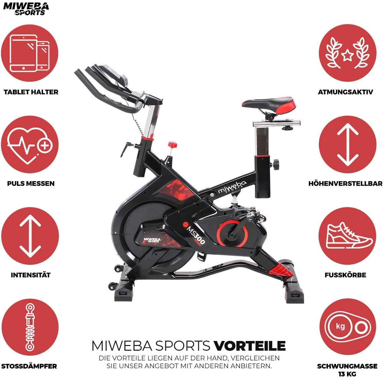 Miweba Sports MS300 - Bicicleta estática Profesional, 13 kg, Masa ...
