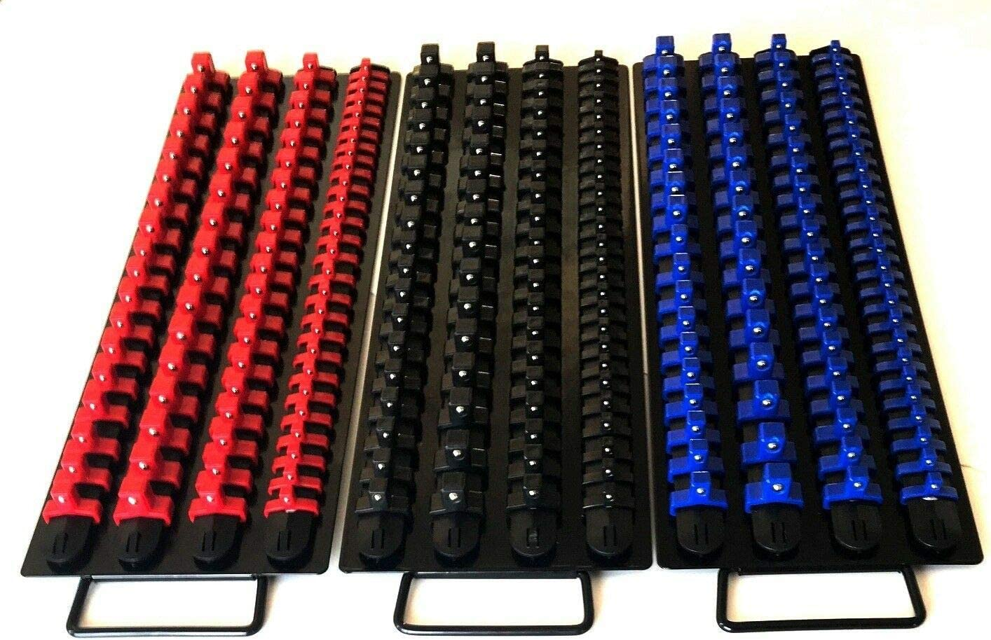 """Details about  /Socket Rack Holder 1//4\/"""" 3//8\/"""" 1//2\/"""" with 8 Clips On Rail Tool Organizer Storage"""