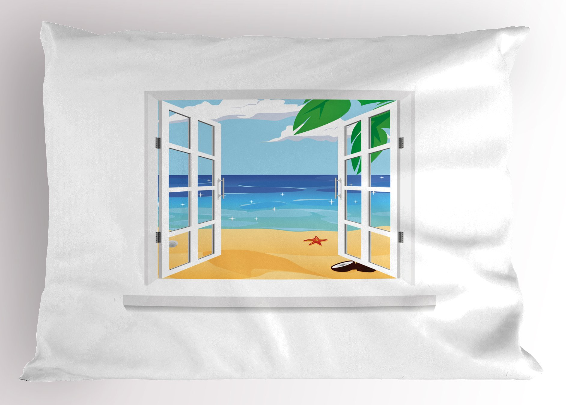 Ambesonne Beach Pillow Sham, View from Window Ocean with Coconut Leaves Starfish Cartoon Illustration, Decorative Standard Size Printed Pillowcase, 26 X 20 inches, Blue Sand Brown White