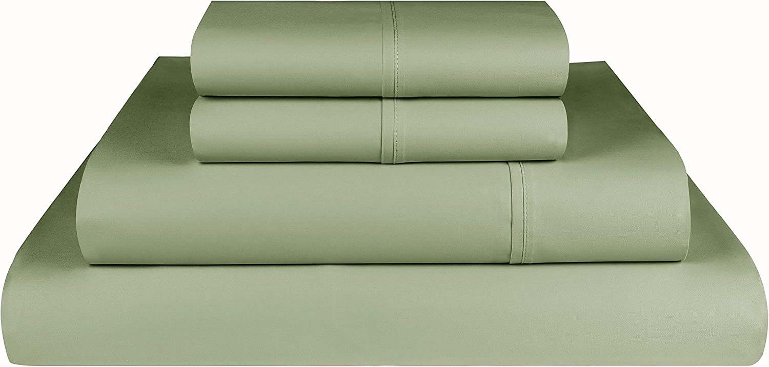 Threadmill Home Linen 800 Thread Count 100% Extra-Long Staple Cotton, King 4 Piece Bed Sheet Set, Luxury Bedding, Fits Mattresses up to 18 inches deep, Smooth Sateen Weave, Sage