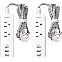 2 Pack Power Strip with USB, 2 Outlets and 3 USB Ports(3.1A) Travel Power Strip, Desktop Charging Station with 5 ft…