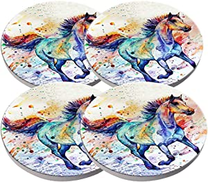 Beverage Coaster - Custom Fashion Personalized Exquisite Ceramic Coasters with Cork Liner,4 Pieces Sets (Watercolor Running Horse)