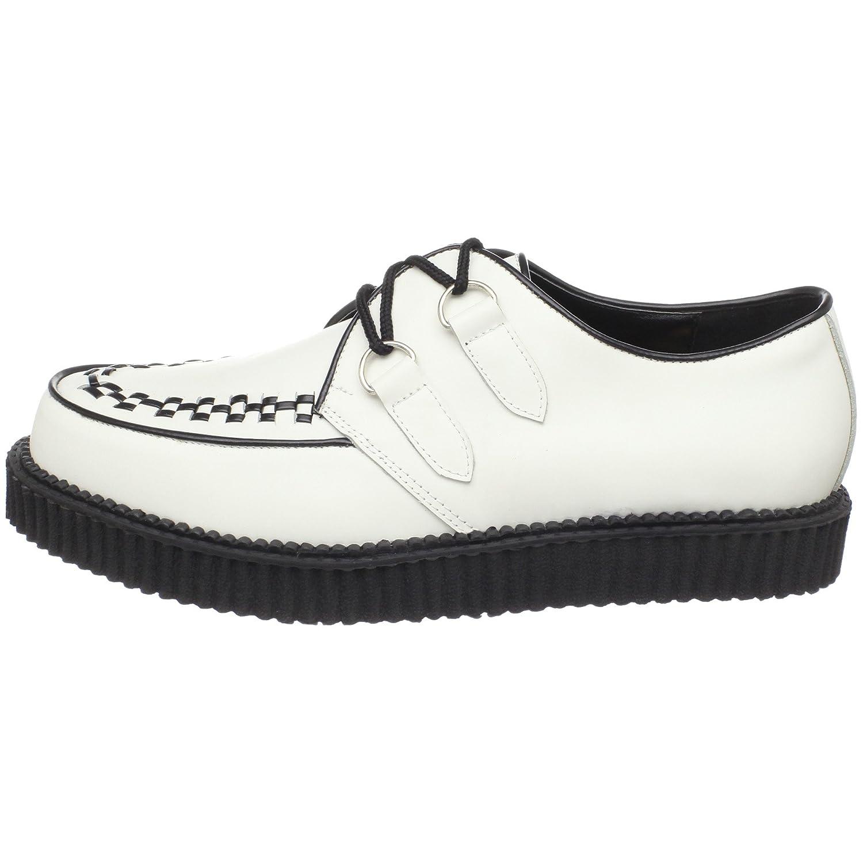 CREEPER-602 - Brogue Hombre, Blanco (Weiss (Wht Leather)), 43 EU (10 Herren UK) Demonia