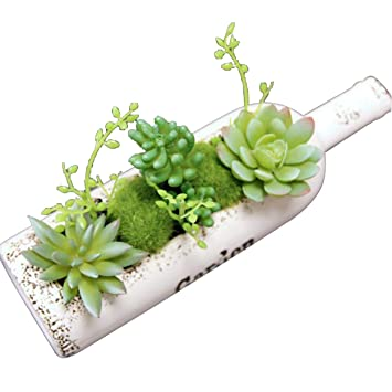 Flikool Creativo Botella Artificial Planta Suculenta Plastico Potted Plant Artificial Topiario Planta en Maceta Artificiales Flores