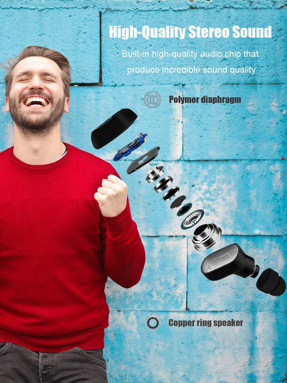 Auriculares bluetooth, Auriculares inalámbricos Bluetooth 5.0 Sonido Estéreo Auricular Mini Twins In-Ear Auriculares con Caja de Carga Portátil Y Micrófono Integrado para iPhone y Android