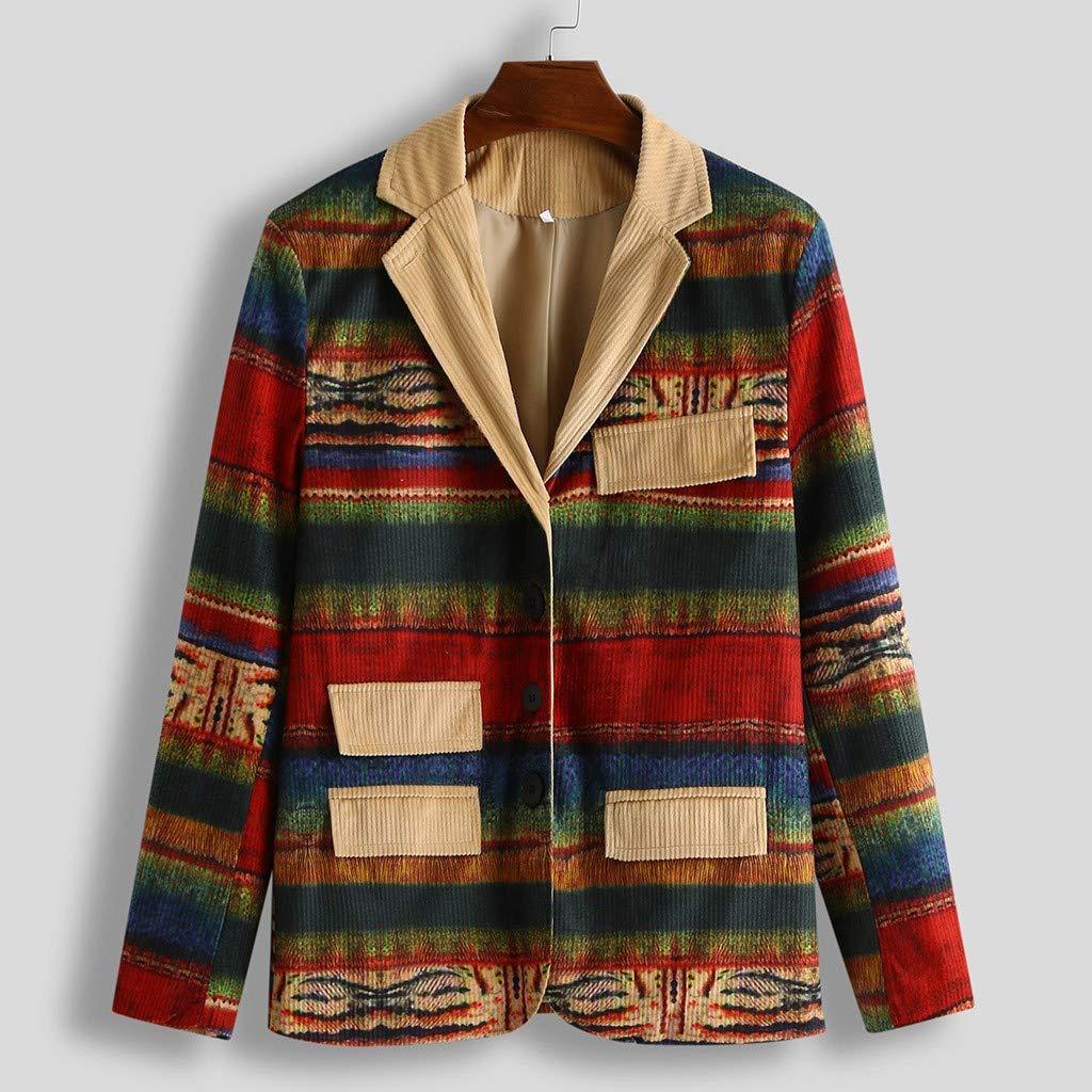 Mens Corduroy Rainbow Print Long Sleeve Blazer Party Business Gradient Printed Button Pockets Suit Coat Jackets S-3XL