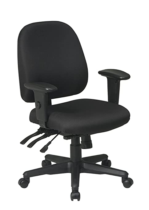 Office Star Multi Function Ergonomic Chair with Ratchet Back and Adjustable Soft Padded Arms, Black