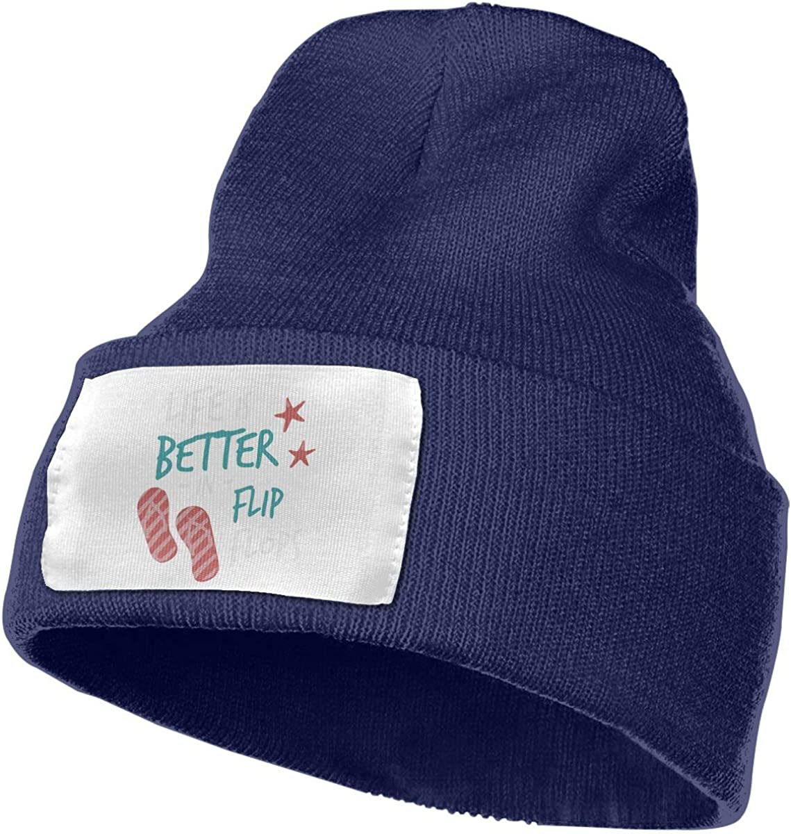 Adults Life is Better in Flip Flops Elastic Knitted Beanie Cap Winter Warm Skull Hats
