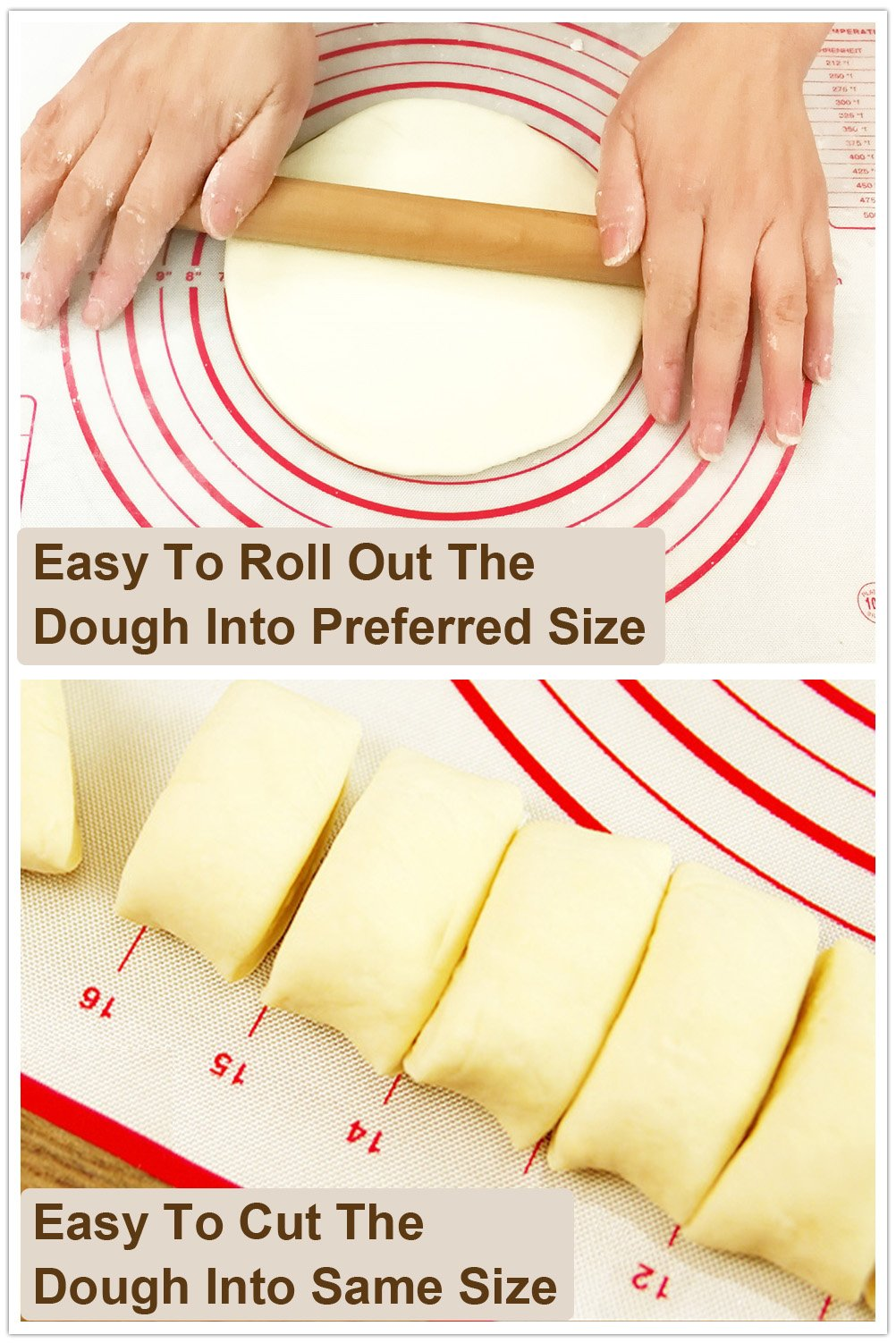 ETHDA Silicone Pastry Mat Extra Large with Measurements, Dough Rolling Baking Sheet, Non-Slip, Non-Stick,Oven Liner for Fondant,Pie Crust,Cookie, Mother's Day Gift, XL (19.5''x23.5'') by Ethda (Image #5)