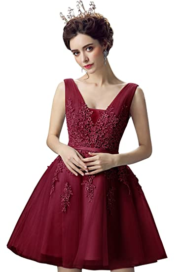 Misshow Juniors Short Masquerade Ball Gown Lace Semi Formal Dress (Burgundy, 6)