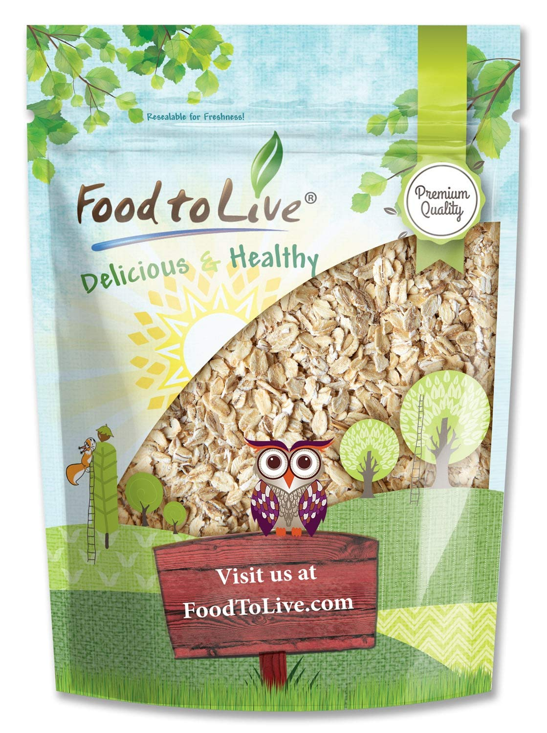 Quick Cooking Rolled Oats, 3 Pounds - 1 Minute Oatmeal, Whole Grain, Instant Meal, Dry Thin Flakes, Uncooked, Raw Whole Foods, Vegan, Kosher, Bulk.Great for Breakfast Cereal and Granola