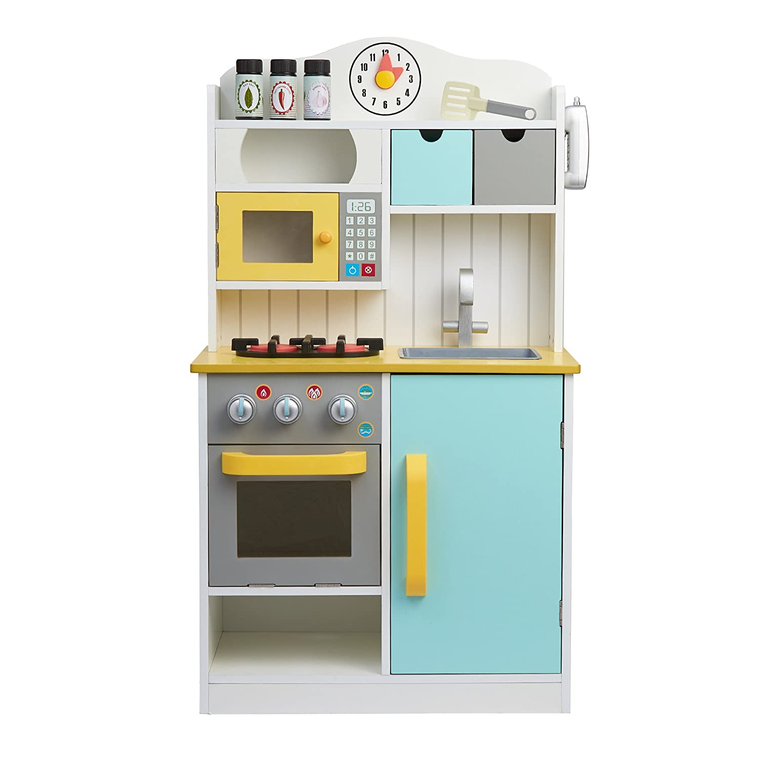 Amazon.com: Teamson Kids Florence Play Kitchen, White/Green, 21.50 ...