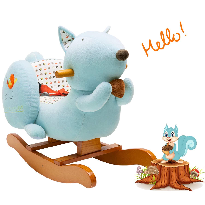 labebe Child Rocking Horse Toy, Stuffed Animal Rocker Toy, Blue Squirrel Plush Rocker Toy Kid 1-3 Years, Wooden Rocking Horse/Plush Rocking Toy/Rocking Horse Girl/Boy Rocker/Outside Rocking Horse