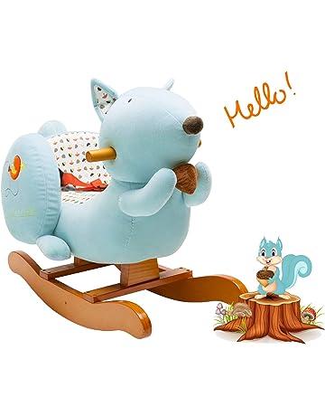 cfaa47d80 Labebe Bebé Mecedora Madera, Mecedora Felpa, Forma de Ardilla Mecedora Azul  para bebé 1