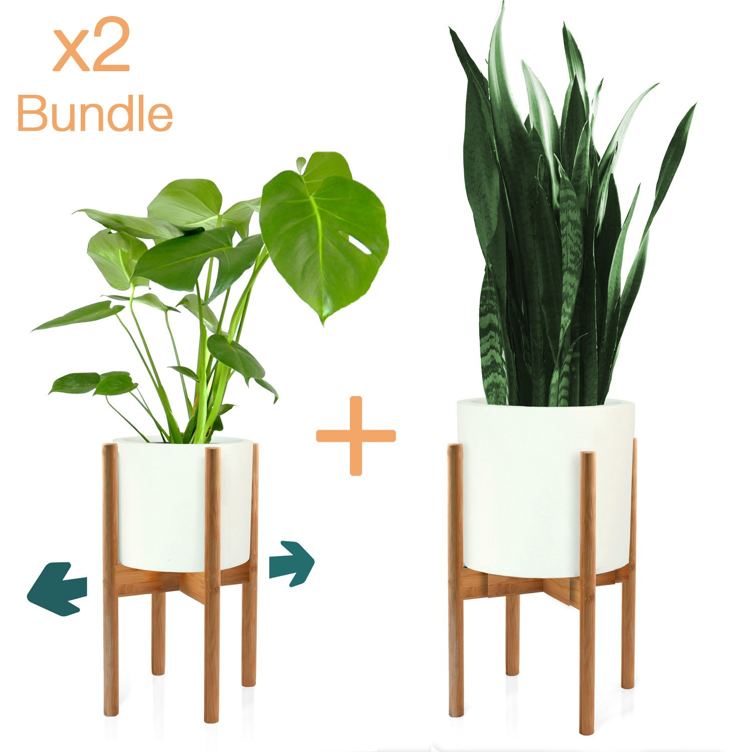 Fox & Fern Mid-Century Modern Plant Stand - Adjustable Width 8'' up to 12'' - Bamboo - Excluding White Ceramic Planter Pot - Set of 2 by Fox & Fern