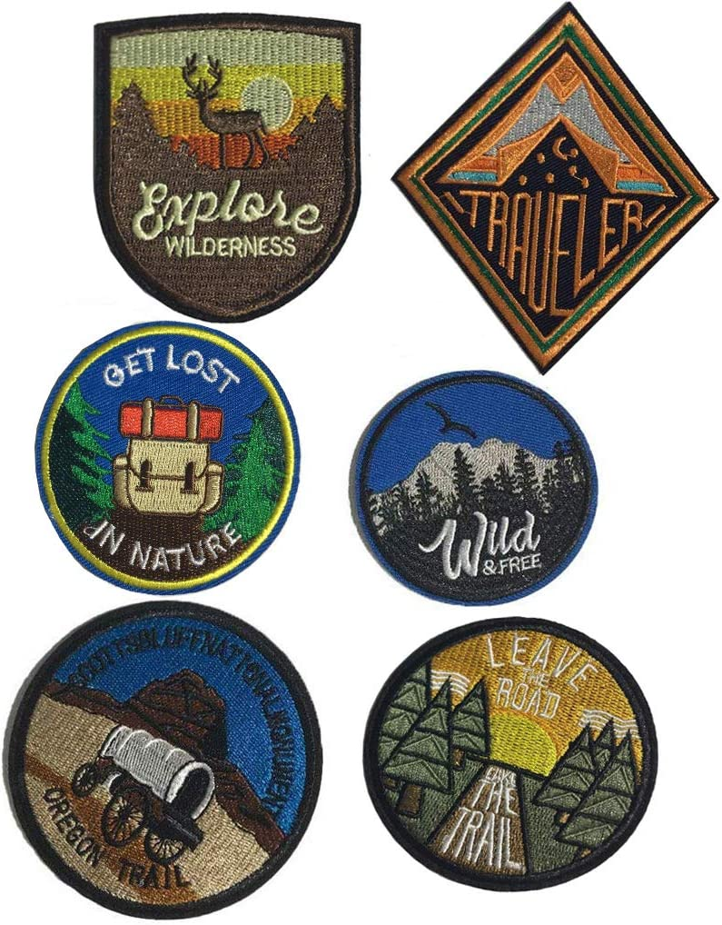 6 Pcs Sun and Moon Leave The Road Take The Trail,Not All Those Who Wander are Lost,Shape The Future Explore Wilderness Traveler Patch Sew On/Iron On Patches (Set C)