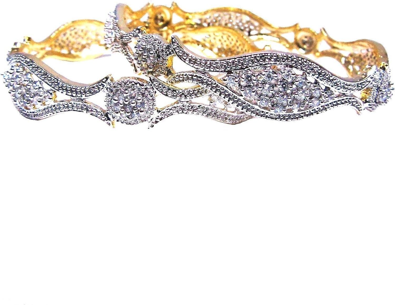 JEWELEYINDIA Exclusive Jewelry Gold Plated 2.6 Size cz ad Design Ethnic Modern Jewelry Bollywood Indian Bridal Bangles Bracelet Set