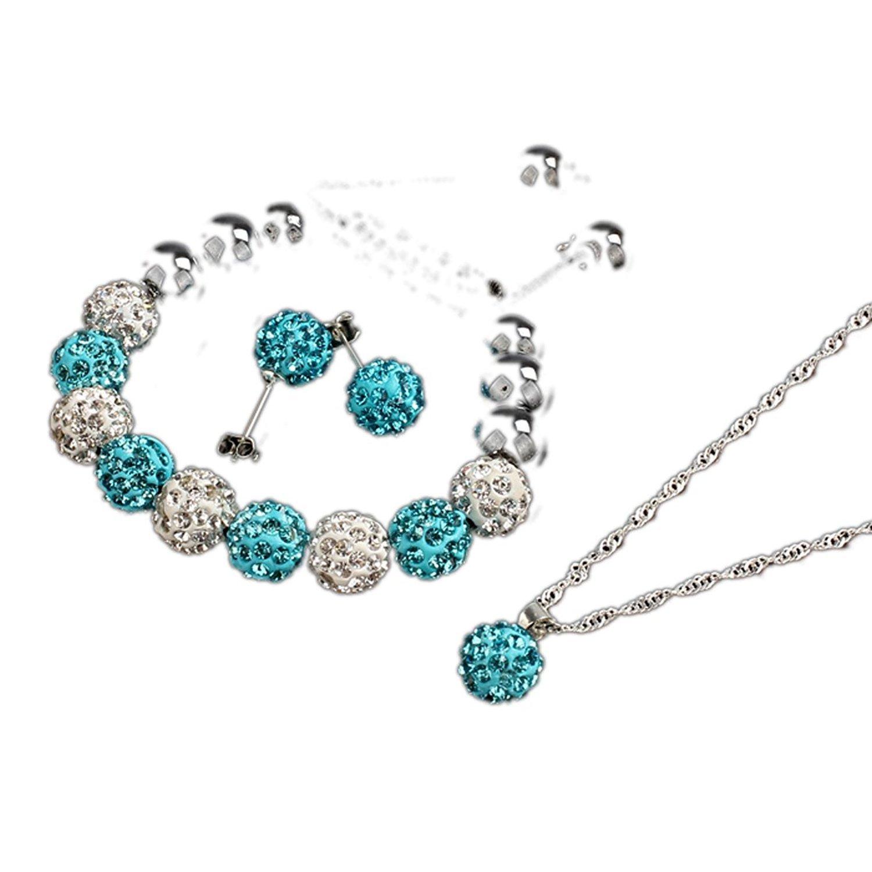 Bracelet Earrings Necklace Set - TOOGOO(R)Crystal Ball Jewelry Shamballa Bracelet Earrings Necklace Set New (Pink) 7og2X