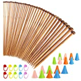 Pllieay 62 Pieces Knitting Needles Set with 18 Sizes Bamboo Knitting Needles and Knitting Needle Point Protectors and Knitting Crotchet Locking Stitch Markers
