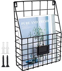 WantuSee Metal Wire Wall Mounted Magazine Holder, Wall Hanging Organizer Holder for Files, Newspapers, Magazines with Tag Slot for Office, Home Organization, Black