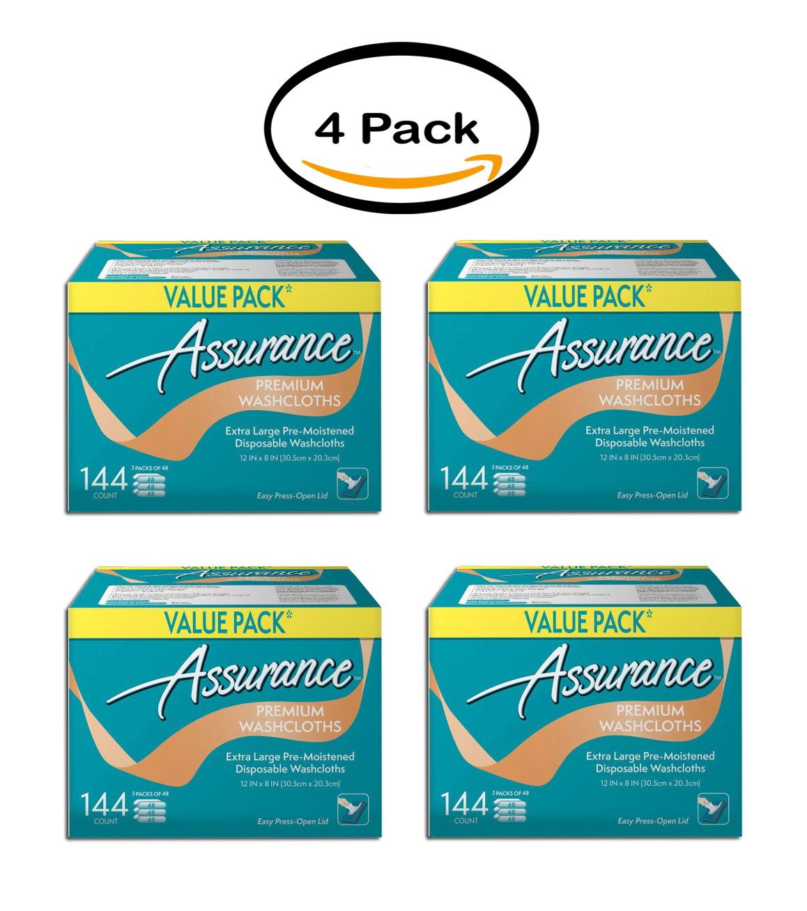 PACK OF 4 - Assurance premium washcloths, XL, 144 Ct