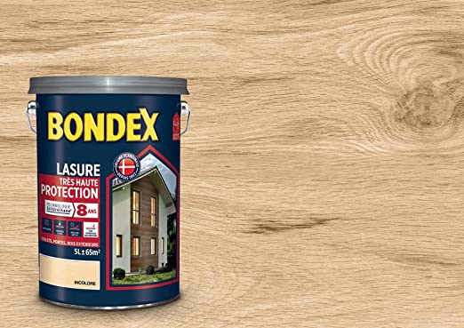 Lasure Haute Protection 8 Ans Bondex Incolore Satin 5l