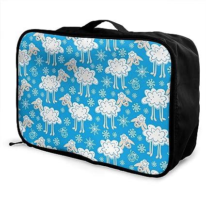Amazon.com  YyTiin Cute White Sheep Travel Duffel Bag Waterproof ... 97a2fc9ac27a1