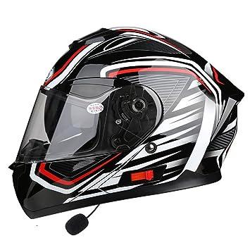 XERT Unisex Todoterreno Motocicleta Casco Auriculares Bluetooth Seguridad Descenso Flip-Up Protección Cara Completa Scooter