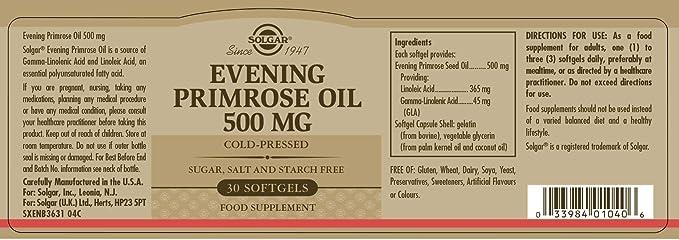 Solgar Aceite Primula Rosa 500 Mg - 30 Cápsulas: Amazon.es: Salud y cuidado personal