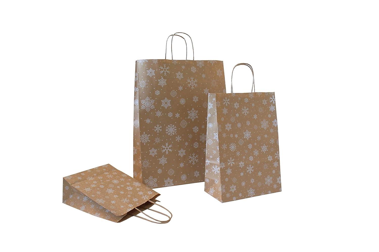 22 +10 x 36 cm, 10 St/ück Weihnacht Papiertragetaschen mit Flachhenkel wei/ß 70 g//qm Motiv