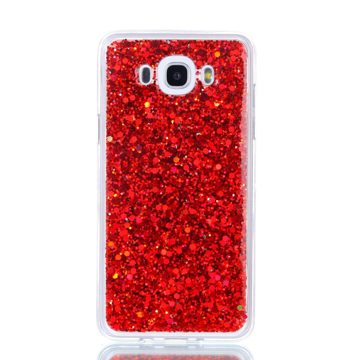 - Rosa #3 Shock-Absorption Morbida TPU Silicone Cover Glitter Bling Custodia Case Protezione Posteriore Backcover Ultra Sottile Gel Caso ISAKEN Compatibile con Samsung Galaxy J7 2016 Custodia